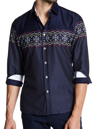 Navy Fashion Unique Dress Shirt