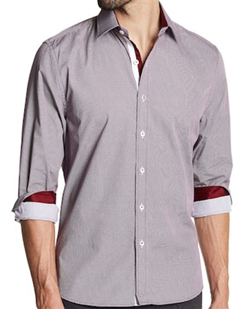 Burgundy Grey Button Down Shirt