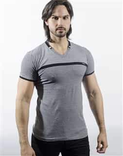 Via Uomo V Neck Shirt Black