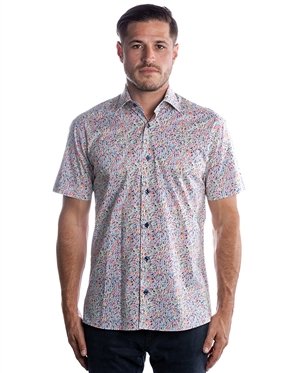 Sporty Short Sleeve Dress Shirt - Colorful Turquoise Woven