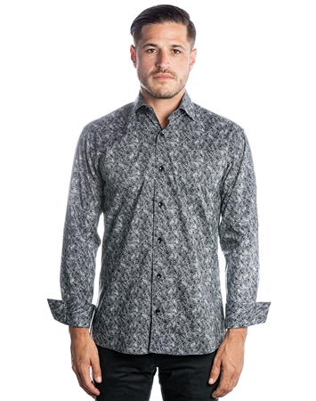 Luxury Dress Shirt - Geometric Sketch Print Dress Shirt