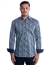 Luxury Dress Shirt - Navy Geometric Floral Pattern