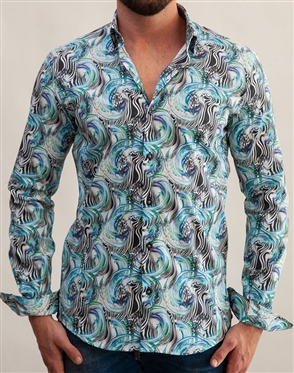 Luxury Abstract Print Dress Shirt