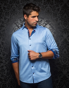 Designer Knit Dress Shirt: Vega Light Blue