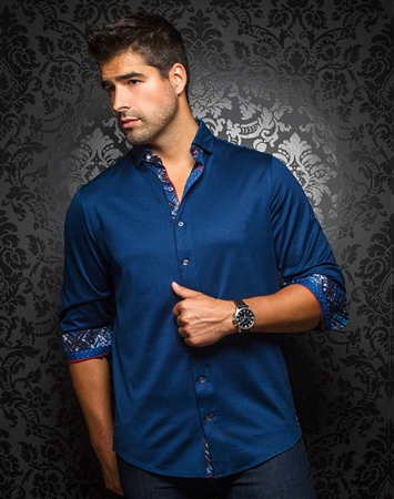 Designer Knit Dress Shirt: Vega Navy