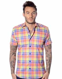 Yellow Short Sleeve Dress Shirt
