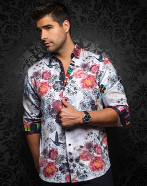 Designer Dress Shirt - Vincent White Multi