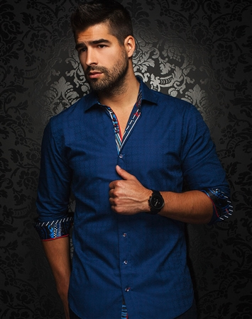 Designer Shirt: Royal Blue Jacquard Dress Shirt