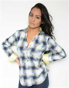 Women Dress Shirt Yellow checkered Shirt