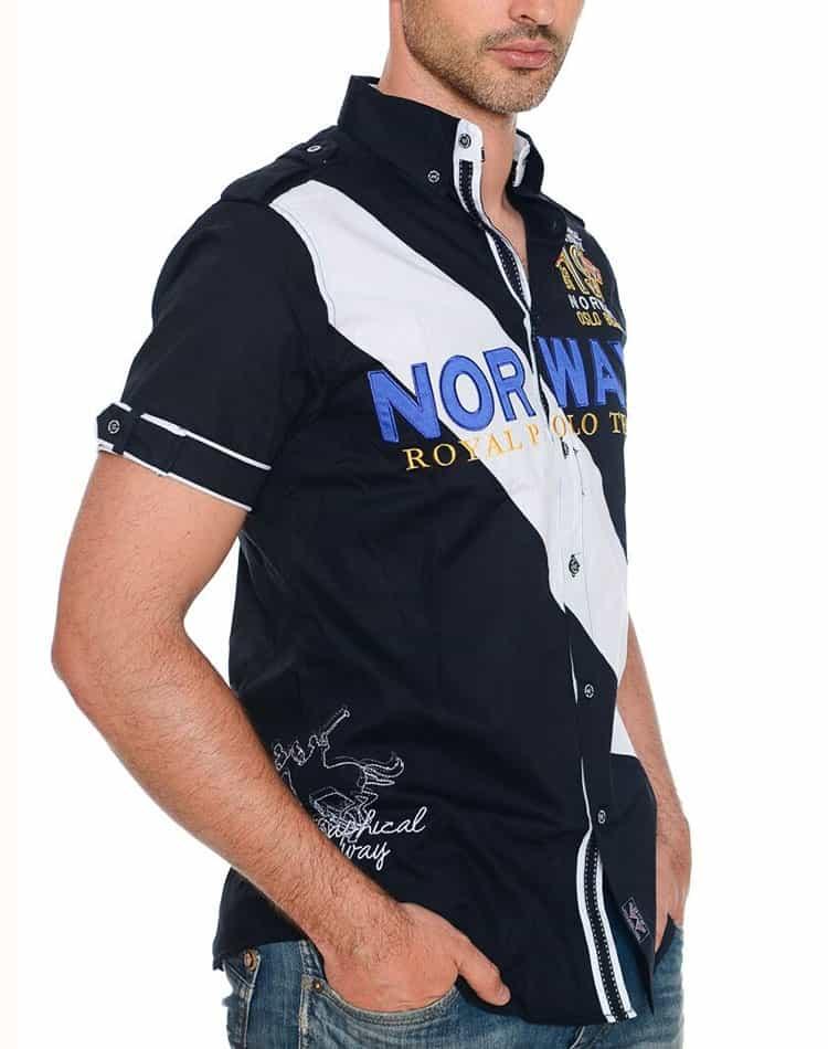4449b9e0 Geographical Norway Royal Team Navy Designer Mens Shirt ...