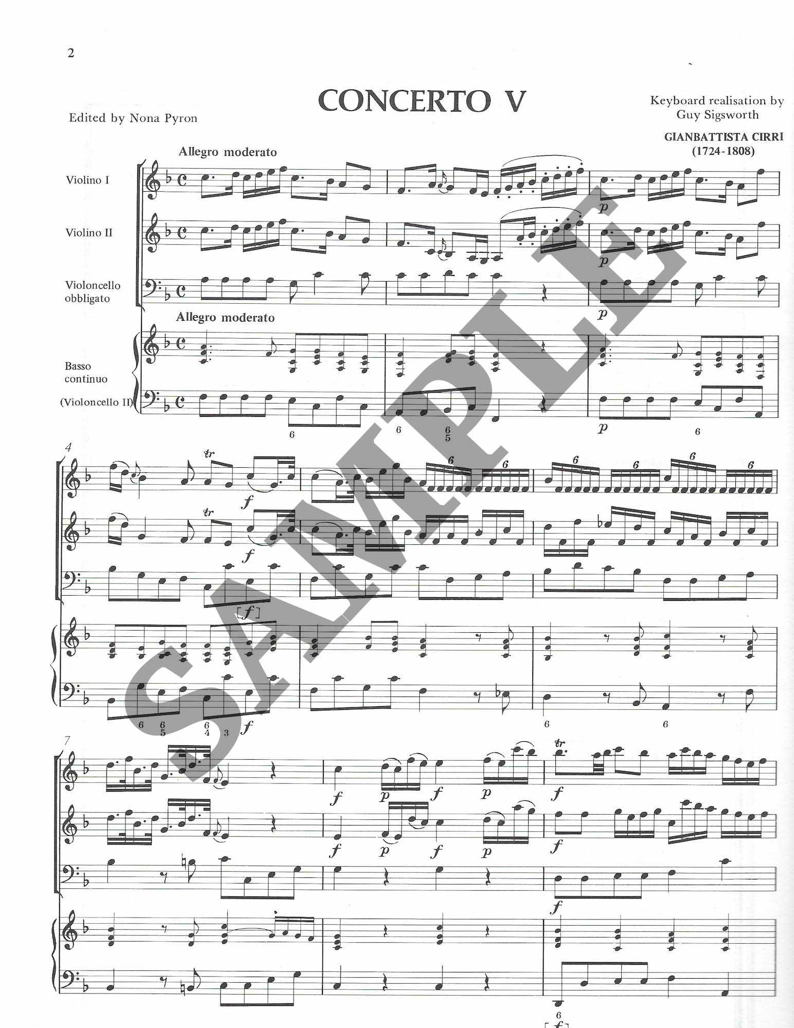 Six Concertos for 2 Celli /& 2 Violins  Vol Cirri 2