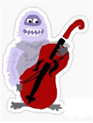 Abominable snowman playing the cello.