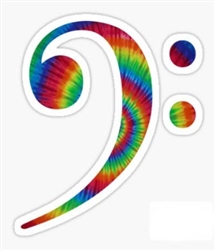 Tie-Dye Bass Clef Sticker