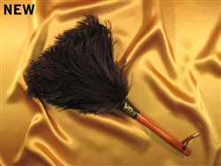 "These are ostrich feather dusters with a gorgeous stained wooden handle and leather loop. A total length of 14"" (7"" head and 7"" handle)."