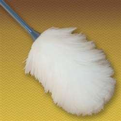 "44"" 2-section extension (built-in) wool duster. Natural Color. Heavy-duty plastic handle.  (10"" head with 19"" long handle extends to 34""). Perfect for cleaning broad surfaces like walls and open desktops."