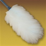 "22"" Premium Lambswool Duster (10"" head with 12"" handle). Wool is all white and handles are made of durable molded plastic. Perfect for cleaning broad surfaces like walls and open desktops."