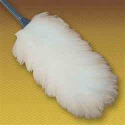 "27"" Premium Lambswool Duster (10"" head with 17"" handle). Wool is all white and handles are made of durable molded plastic. Perfect for cleaning broad surfaces like walls and open desktops."