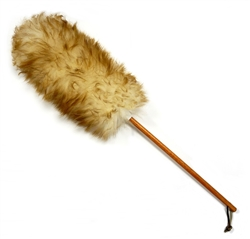 "25"" Wooden Dowel Premium Lambswool Duster (13"" head with 14"" wooden handle). Wool is white with brown tips and handles are made of a wooden dowel."