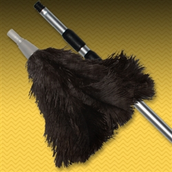 Three-Section Aluminum Extension Pole with Feather Duster Head - Black (X99B)