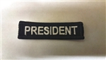 "President Patch White on Black 3""x3/4"""