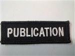 "Publications Officer 3""x3/4"" White on Black (2 Patches)"