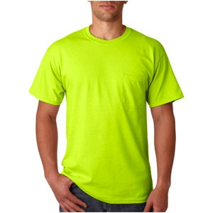 Safety green t shirt with pocket viewbrite safety products for Sustainable t shirt printing