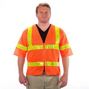 Class 3 Safety Vest Polyester Mesh Orange