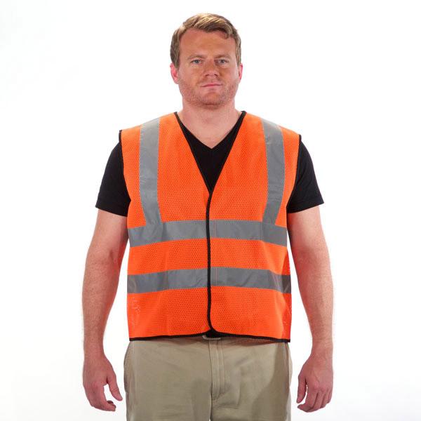 Sleeveless Reflective Safety Vest Orange