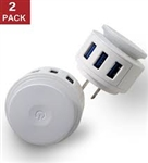 3 Port USB Charger With Night Light 2 Pack
