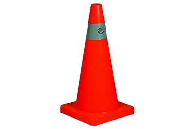 "ABC 28"" ORANGE WEIGHTED TRAFFIC CONES WITH 4"" REFLECTIVE COLLAR"