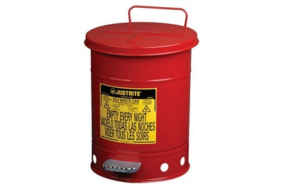JUSTRITE RED OILY WASTE CAN - 6 GALLON
