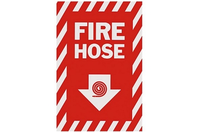 "FIRE HOSE ARROW SIGN - 8"" X 12"""