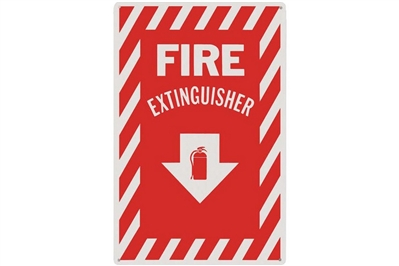 "FIRE EXTINGUISHER ARROW SIGN - 8"" X 12"""
