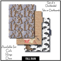 Fall Rain Tabs or Dashboards 3 Side Set A