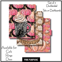 Pink Pumpkins Tabs or Dashboards 3 Side Set A