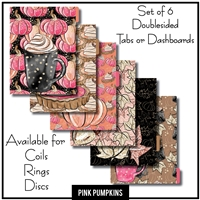 Pink Pumpkins Tabs or Dashboards 6 Set