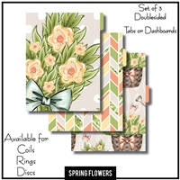 Spring Flowers Tabs or Dashboards 3 Side Set A
