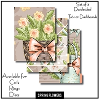 Spring Flowers Tabs or Dashboards 3 Side Set B
