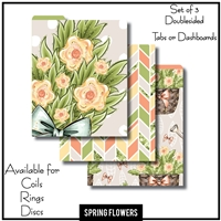 Spring Flowers Tabs or Dashboards 3 Top Set