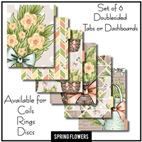 Spring Flowers Tabs or Dashboards 6 Set