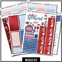 Red and Blue Glitter Happy Planner Weekly