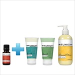 One .5 oz Reunion AI essential oil, One hand cream, One Reunion foot cream and One Reunion body lotion.