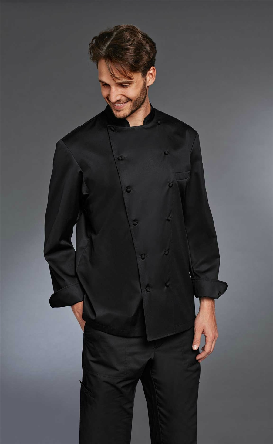 'The Grand Chef' ALLURE Chef Jacket black with Pen Pocket and Breast Pocket in 100% Cotton