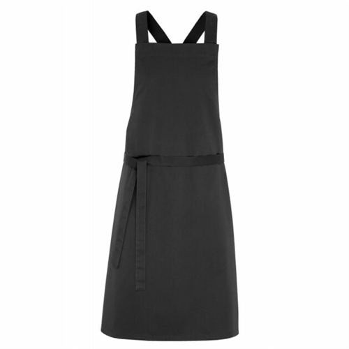 JOSH bib apron anthracite - cross back braid adjustable by snaps