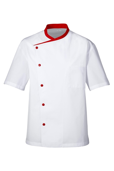 Juliuso short Sleeves Chef Jacket white with red trim