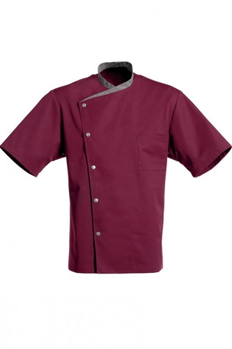 Juliuso short Sleeves Chef Jacket burgundy with grey trim