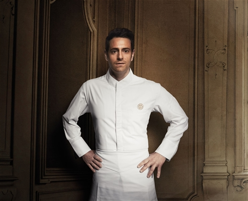 Alicante classic Chef jacket white Fabric weave: tone on tone fine stripes