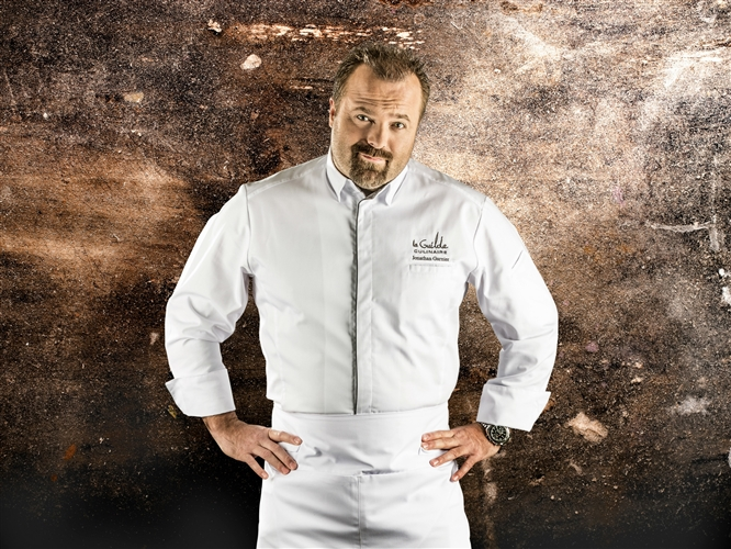 Squadra Executive Chef jacket white contrasting grey along inside of front edge