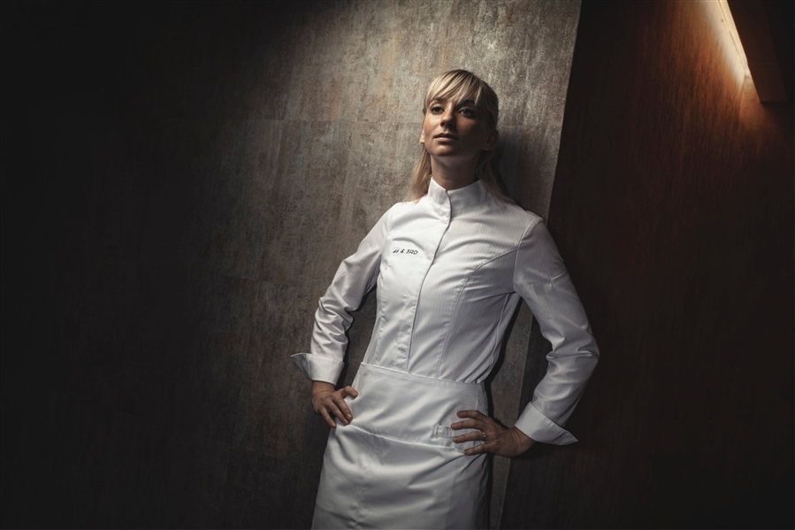 Valencia women fitted Executive Chef jacket white