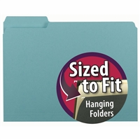 Smead Interior File Folder, 1/3-Cut Tab, Letter Size, Aqua, (10235)